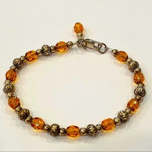 Sterling silver amber crystal glass beads